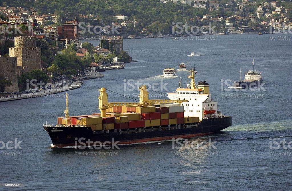 Cargo ship, Turkey-Istanbul-Bosphorus royalty-free stock photo