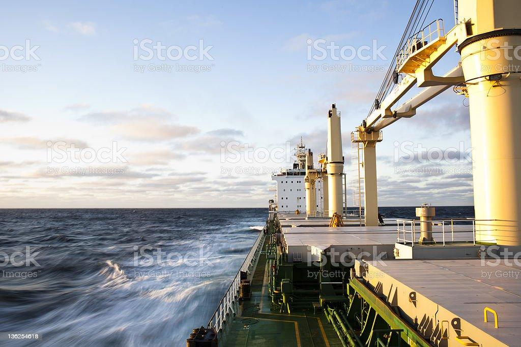 Cargo ship underway royalty-free stock photo