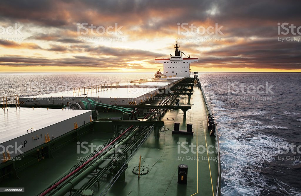 Cargo ship underway stock photo