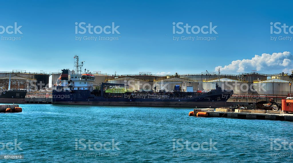 cargo ship waiting in the port Genova stock photo
