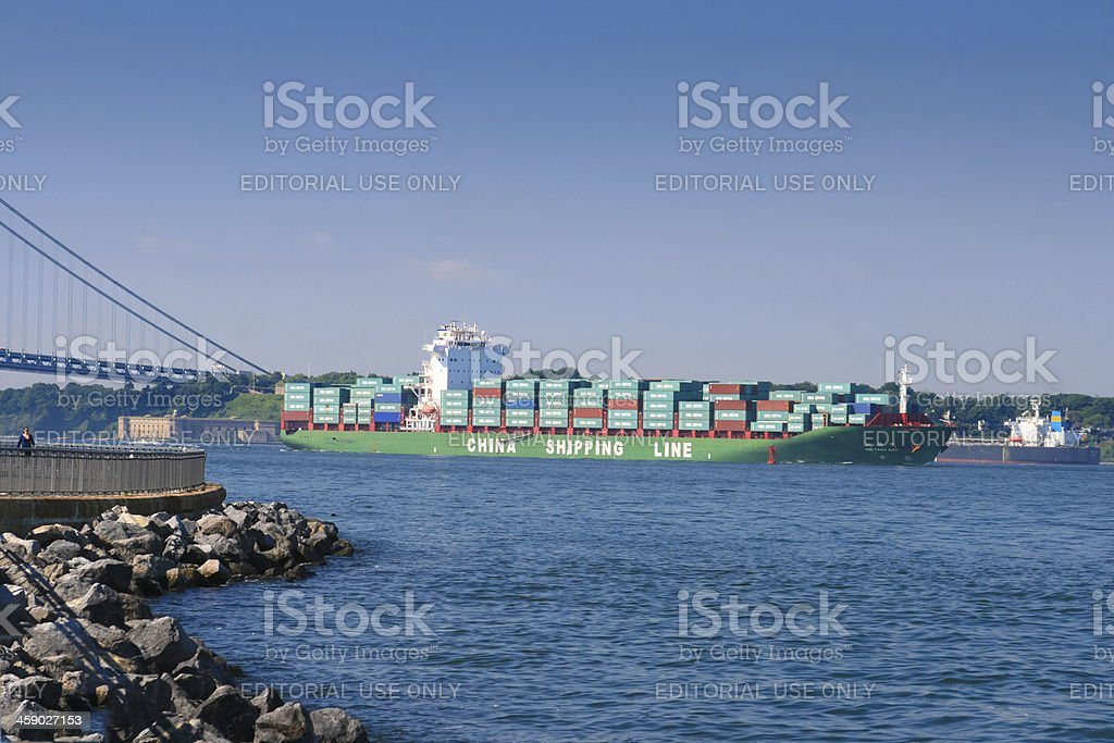 Cargo Ship with goods from China entering New York Harbor. royalty-free stock photo