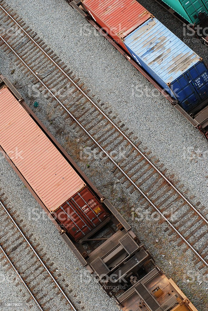 Cargo Shipping Containers on Freight Train in Yard royalty-free stock photo