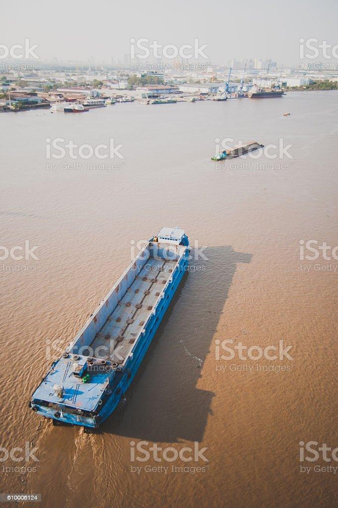 Cargo shipping in Saigon river stock photo
