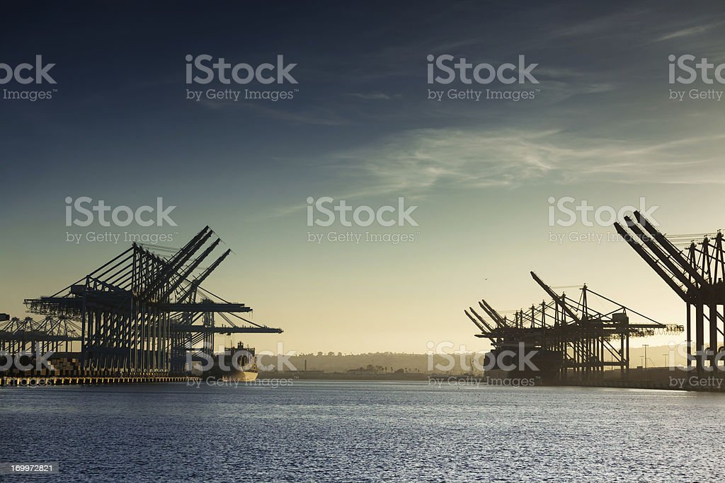 Cargo Ships and Container Cranes stock photo