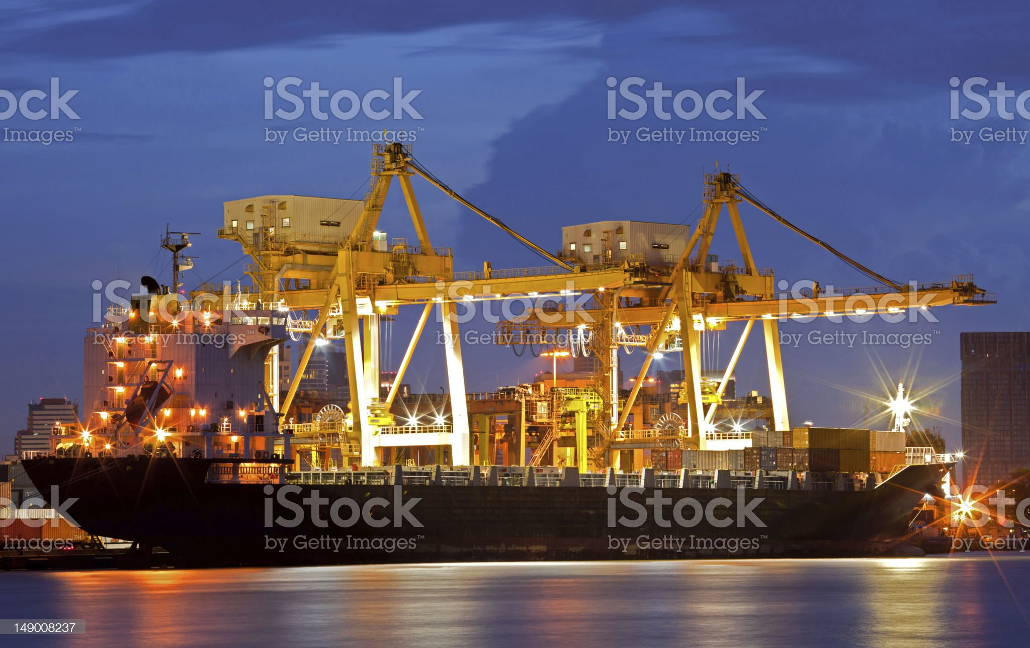 Cargo Ships at dusk royalty-free stock photo