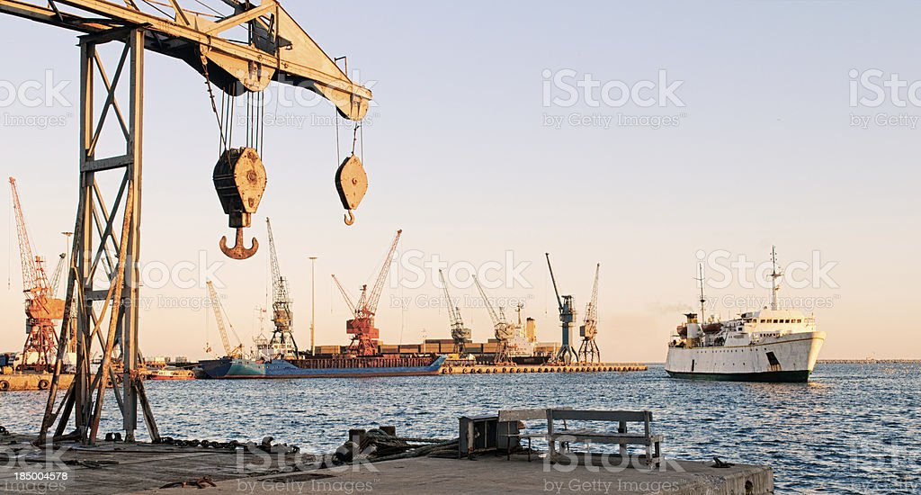 Cargo ships at Mersin port in Turkey stock photo