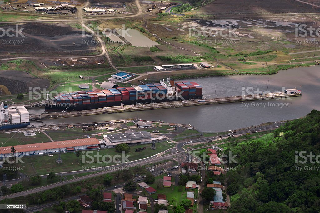 Cargo Ships at Miraflores Locks stock photo