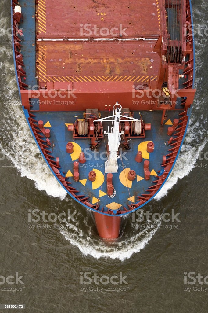 Cargo ship's bow, aerial view looking straight down stock photo