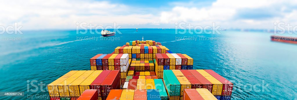 Cargo ships entering the busiest port - Singapore. stock photo