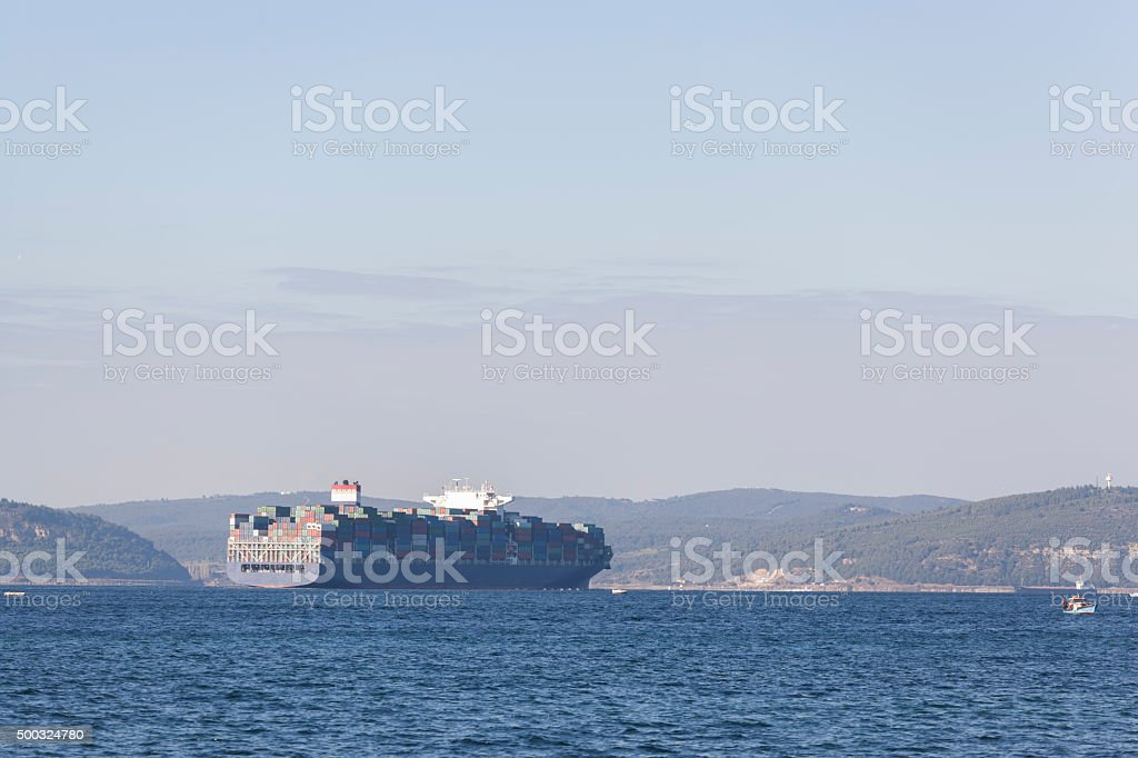 Cargo ships full container stock photo