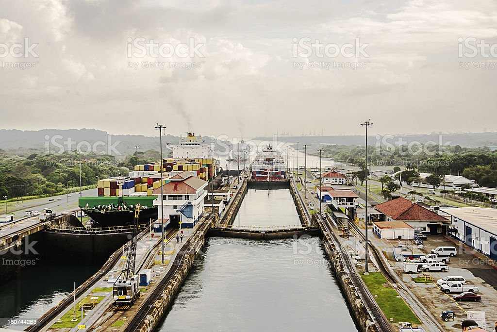 Cargo Ships going through the Gutan Locks Panama Canal stock photo