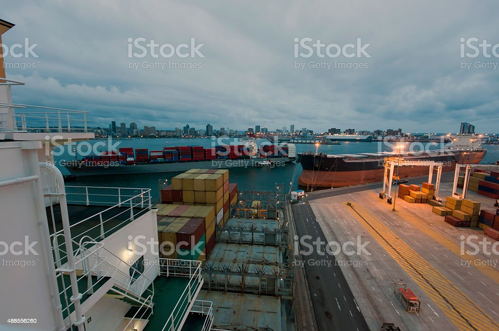 Cargo ships in Durban South Africa stock photo