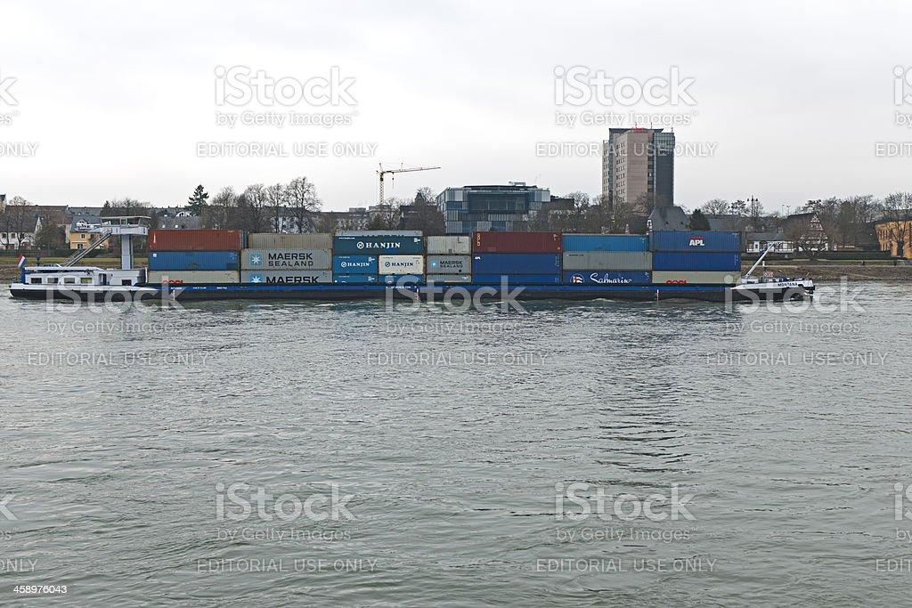 Cargo ships in Koblenz on the Rhine stock photo