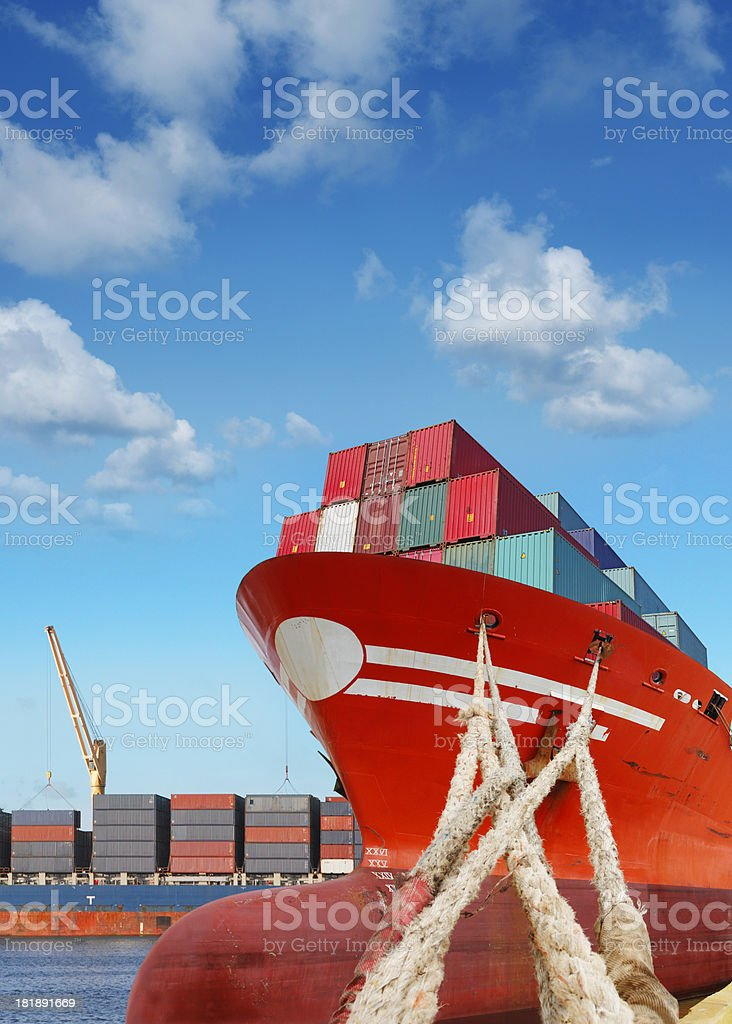 Cargo ships in the port royalty-free stock photo