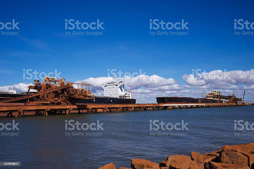 Cargo Ships loading Pilbara iron ore stock photo