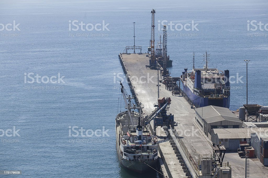 Cargo ships on commercial dock Istanbul, Turkey royalty-free stock photo