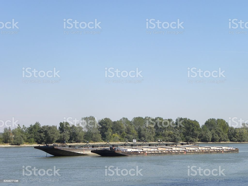 Cargo ships on the river stock photo