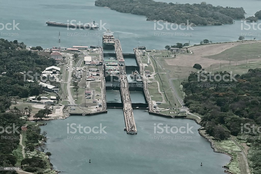 Cargo ships passing through Gatun Locks stock photo