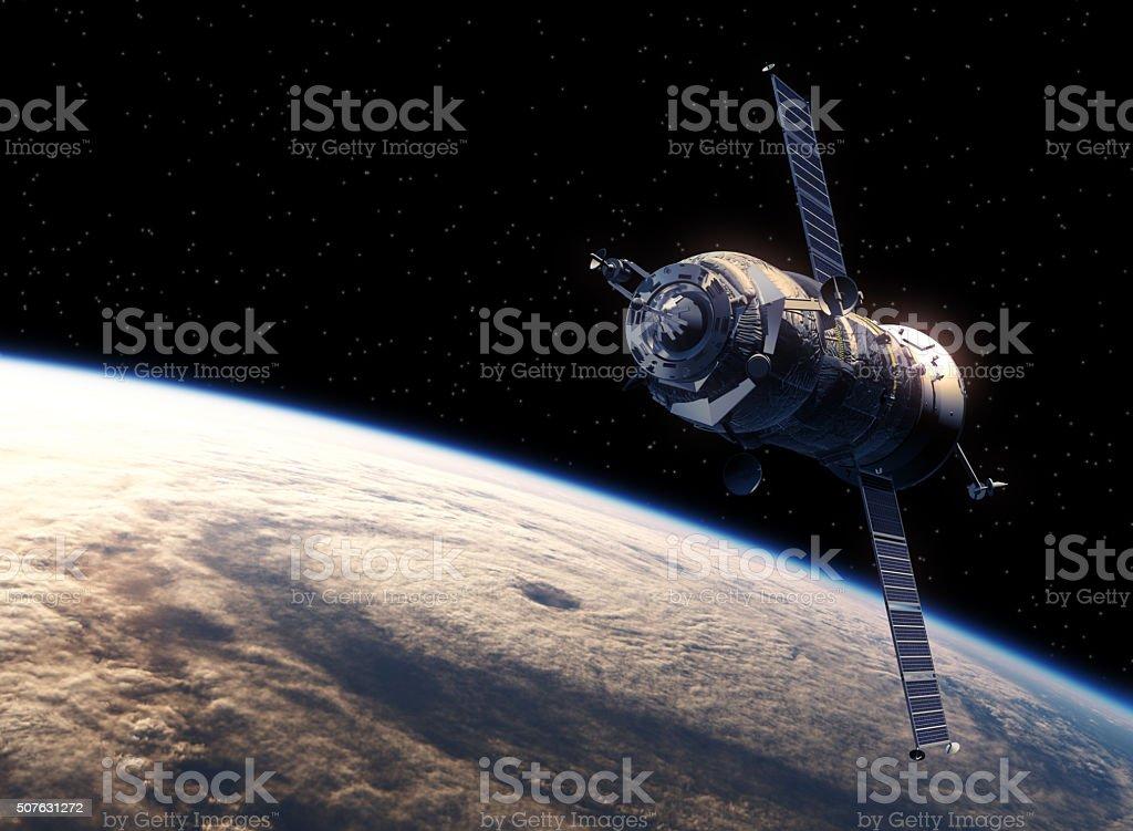 Cargo Spacecraft Orbiting Earth stock photo