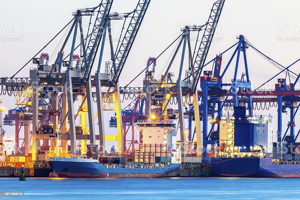 Cargo Terminal at Dusk in Hamburg Harbor, Germany royalty-free stock photo