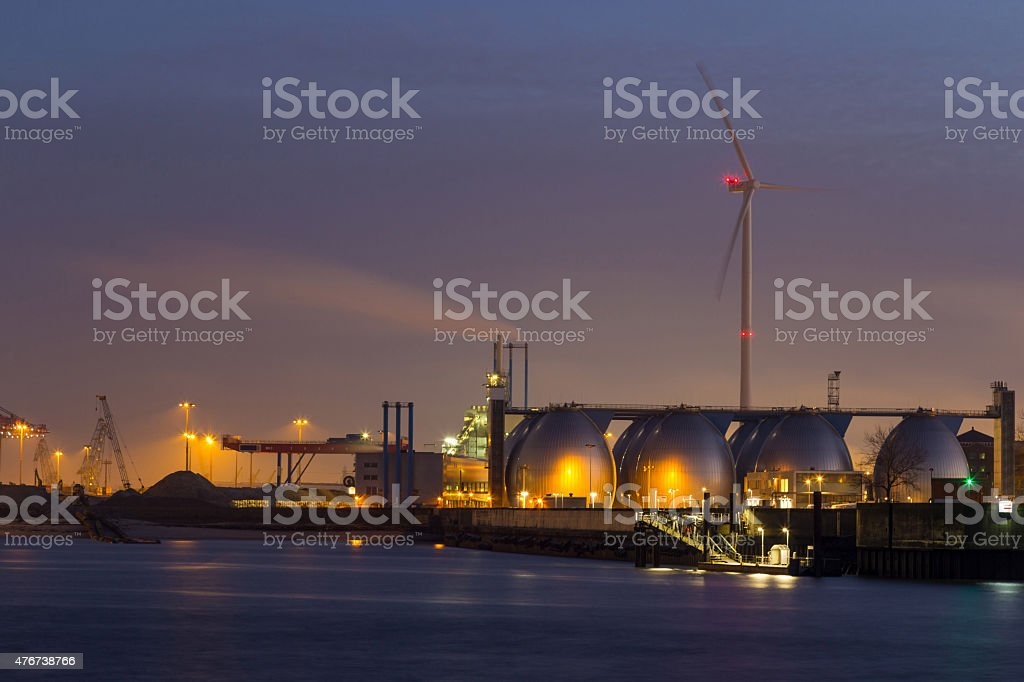 Cargo terminal in Port of Hamburg at night stock photo