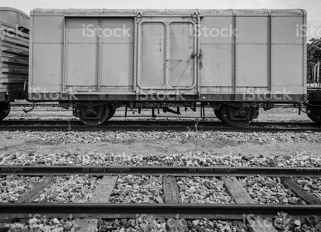 Cargo train and wooden track stock photo