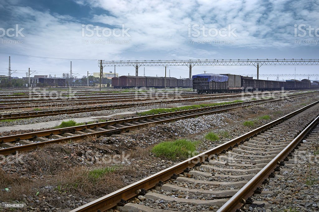 Cargo train platform at container royalty-free stock photo