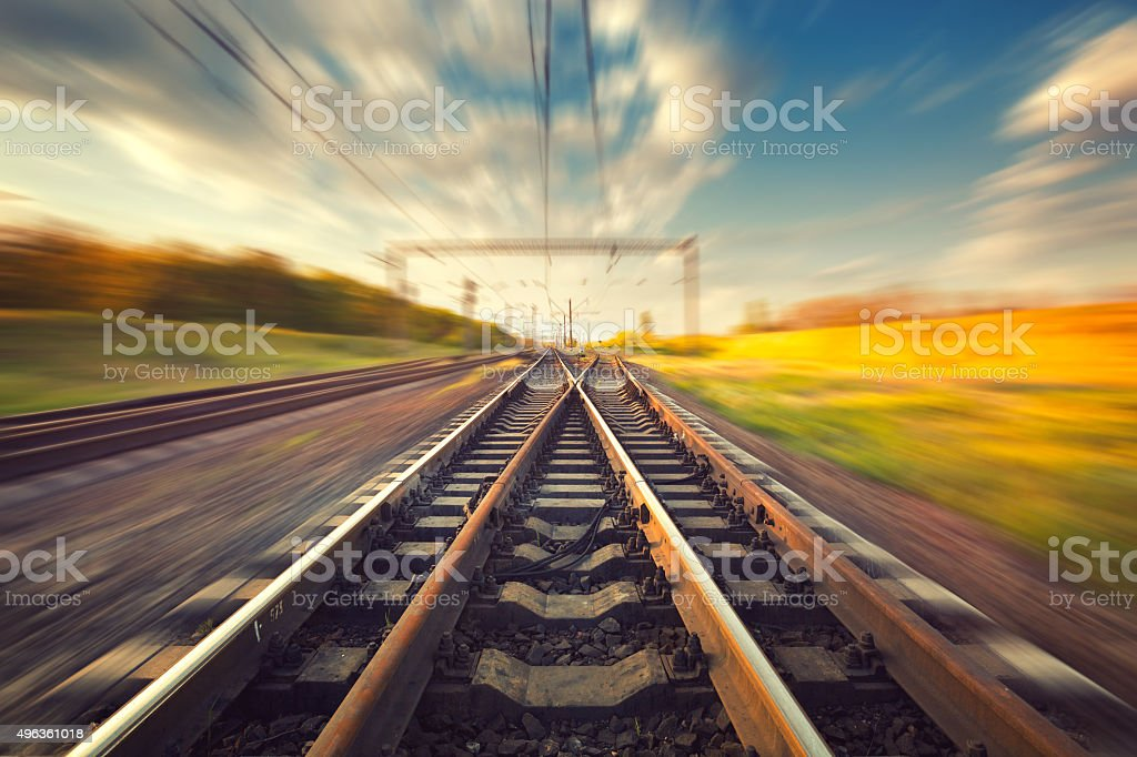Cargo train platform at sunset. Railroad. Railway station stock photo