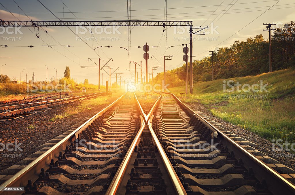 Cargo train platform at sunset. Railroad. Railway station stock photo