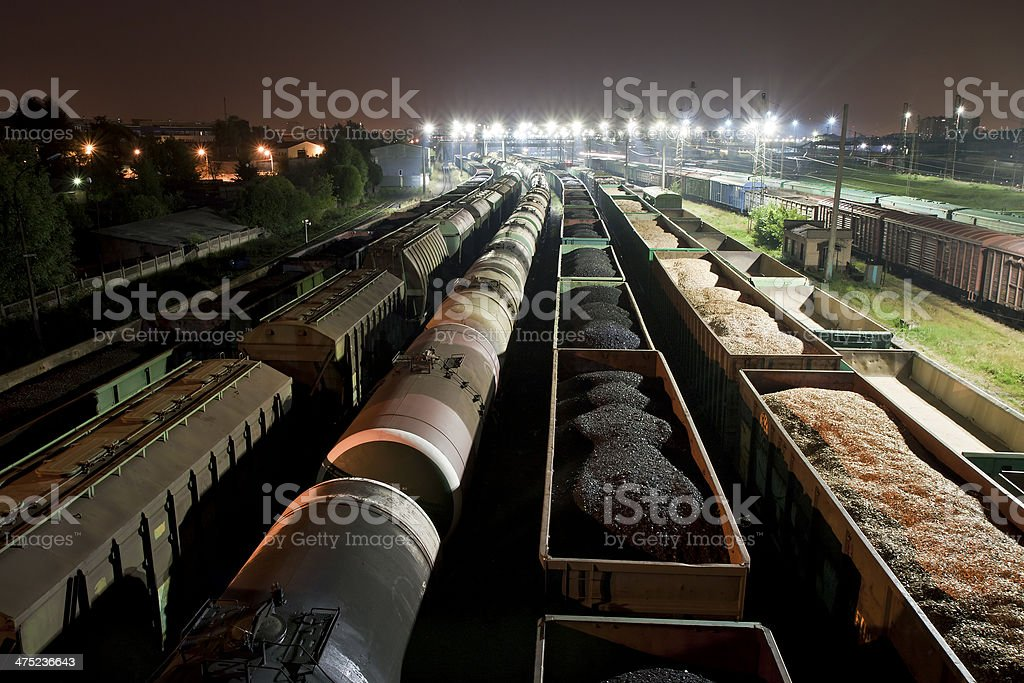 Cargo train station at night stock photo