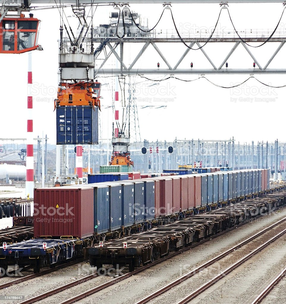 Cargo transportation by train royalty-free stock photo