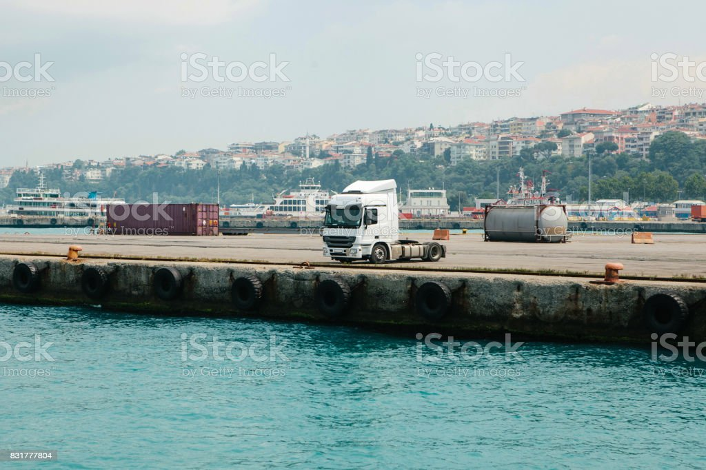 Cargo truck parked at the sea port. Asian side of Istanbul, Turkey. stock photo