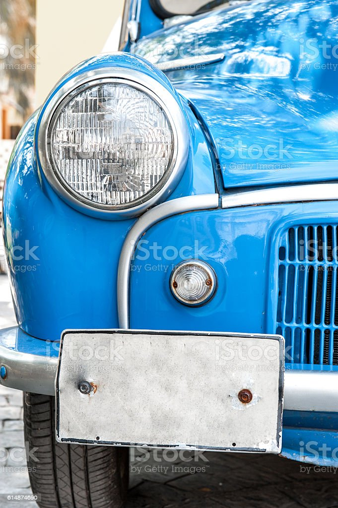 Car,head light and licensed plate. stock photo