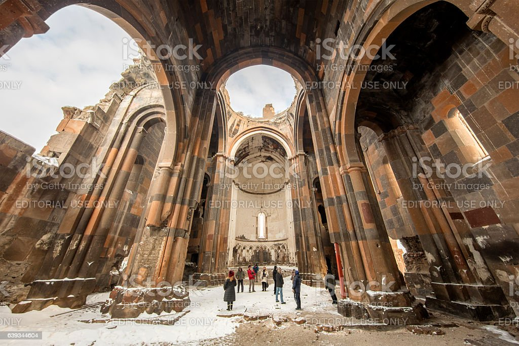 Carhedral Fethiye Mosque in Ani ancient city, Kars, Turkey stock photo