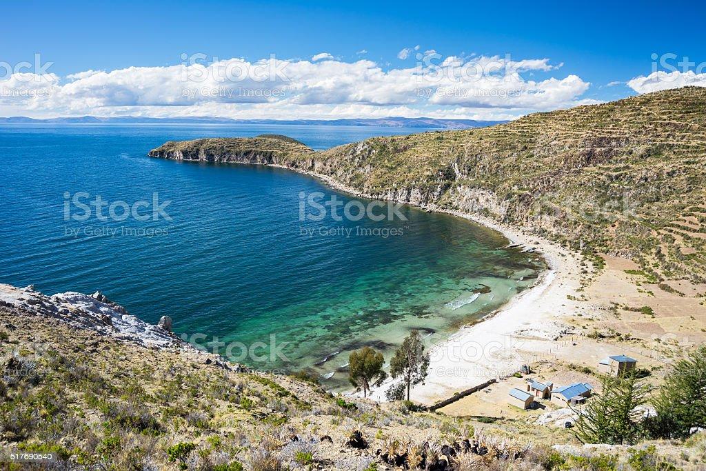 Caribbean bay on Island of the Sun, Titicaca Lake, Bolivia stock photo