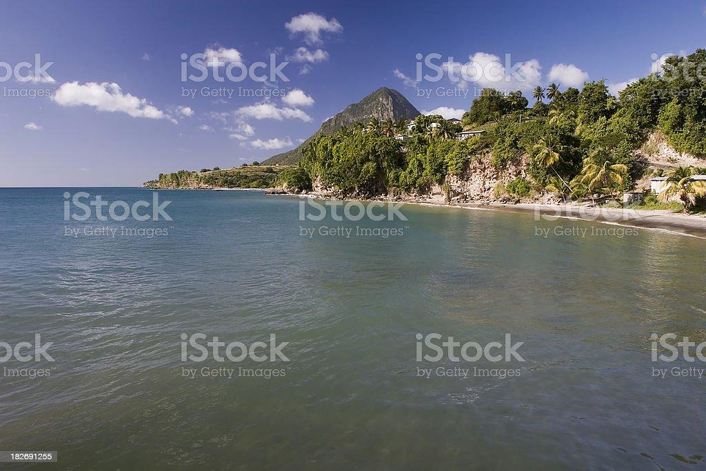 Caribbean Bay on Saint Lucia stock photo
