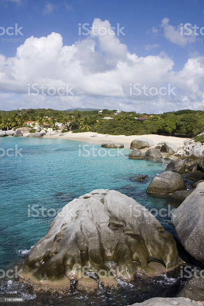 Caribbean Beach and Volcanic Rocks stock photo