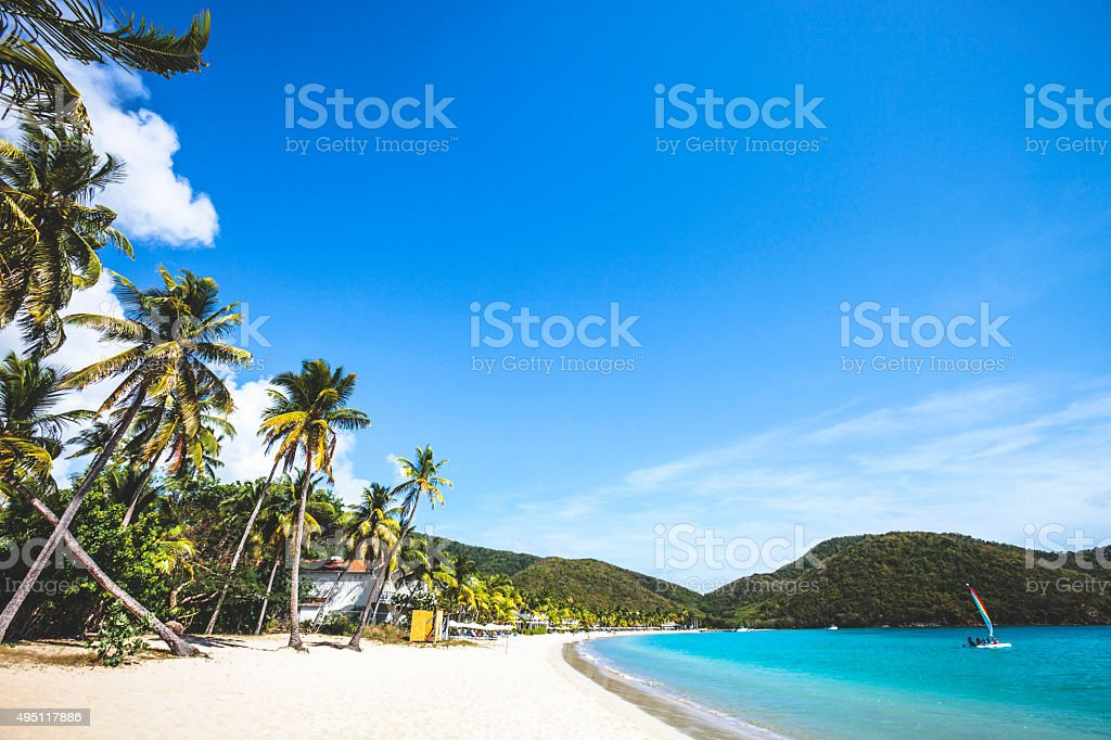Caribbean beach. Carlisle Bay, Antigua & Barbuda. stock photo