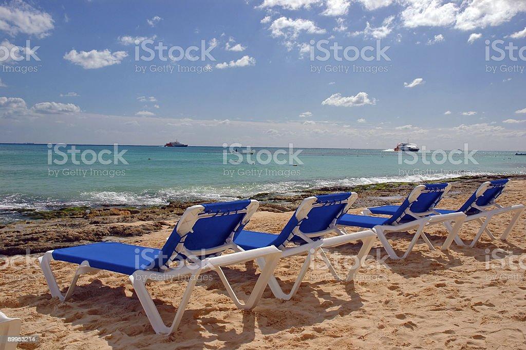 Caribbean Beach Chairs royalty-free stock photo