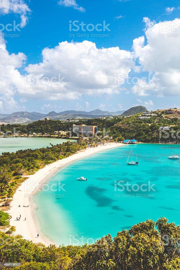 Caribbean beach. Deep Bay, Antigua & Barbuda. stock photo