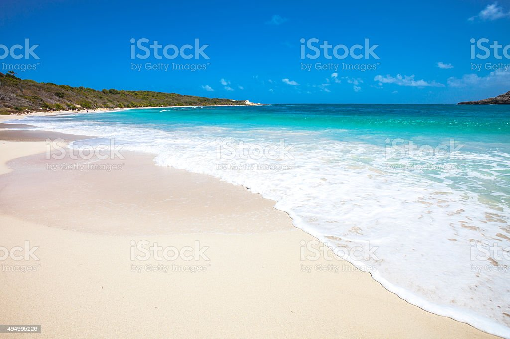 Caribbean beach. Half Moon Bay, Antigua & Barbuda. stock photo
