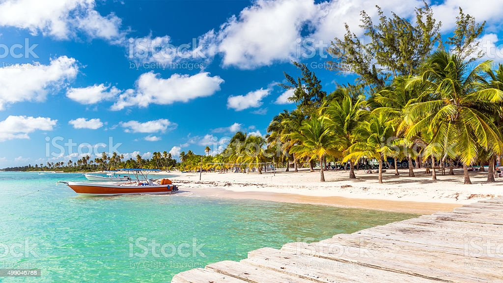 Caribbean beach in Dominican Republic stock photo