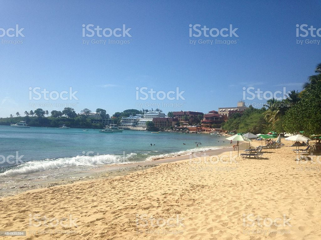 Caribbean beach ocean sand and sun stock photo