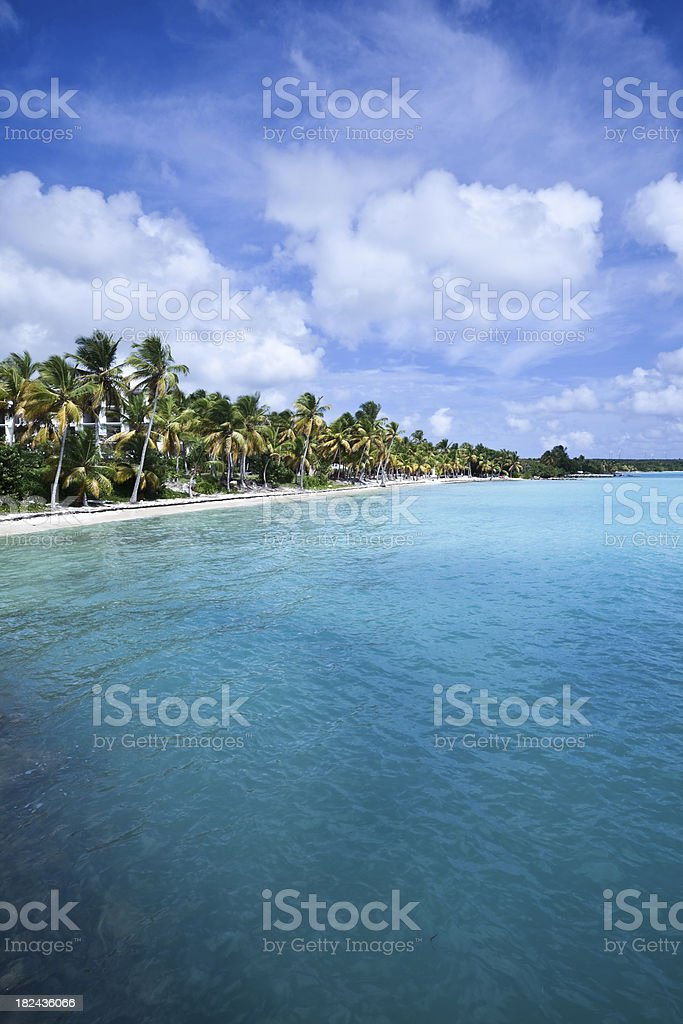 Caribbean Beach Resort and Sea on Guadeloupe stock photo