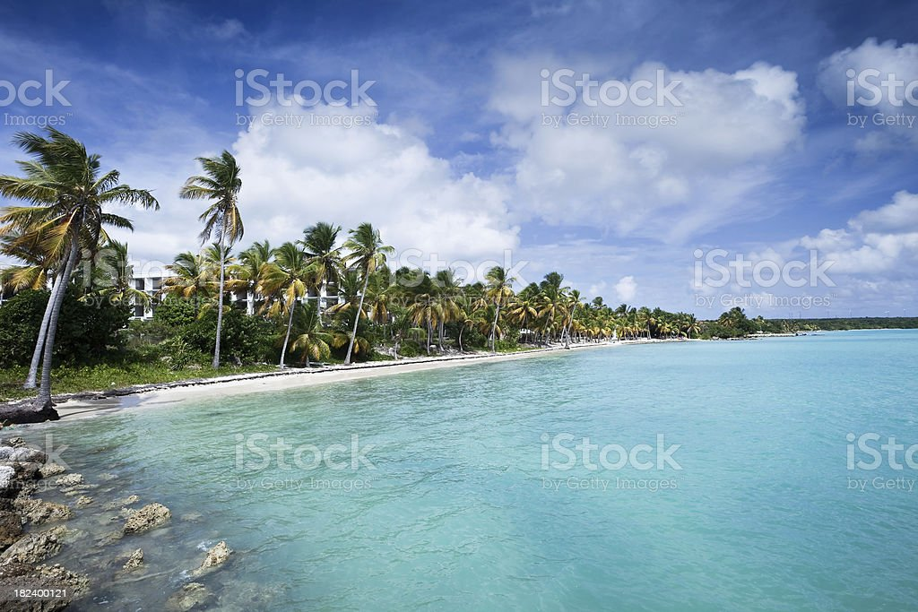 Caribbean Beach Resort on Guadeloupe stock photo