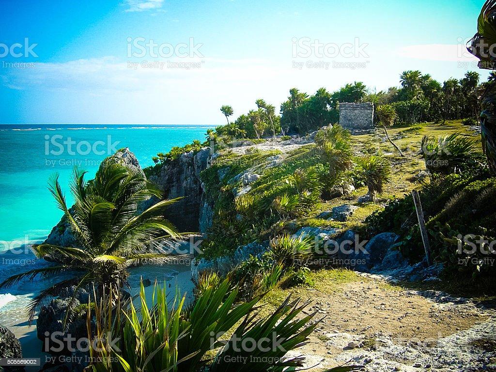 Caribbean Beach Scene - Tulum, Mexico stock photo