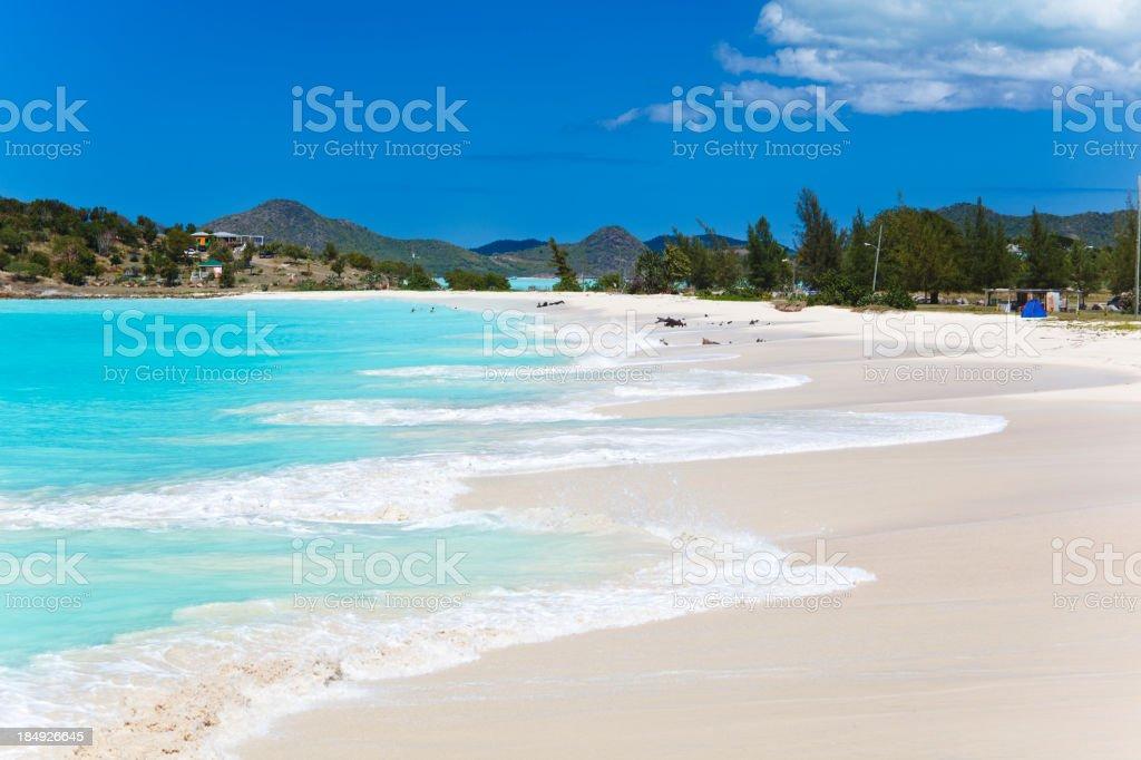 Caribbean Beach With Blue Sky stock photo