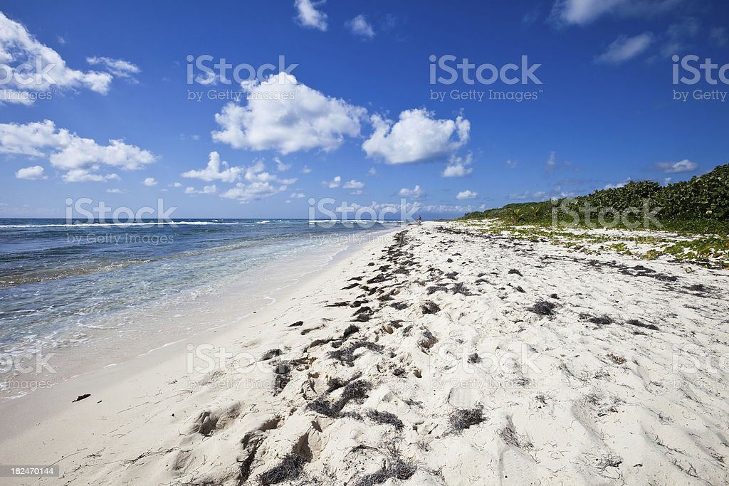 Caribbean Beach with Distant Person stock photo