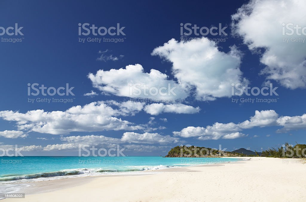 Caribbean Beach With Little Clouds stock photo