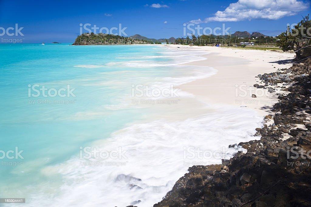 Caribbean Beach With Perfect Sky stock photo